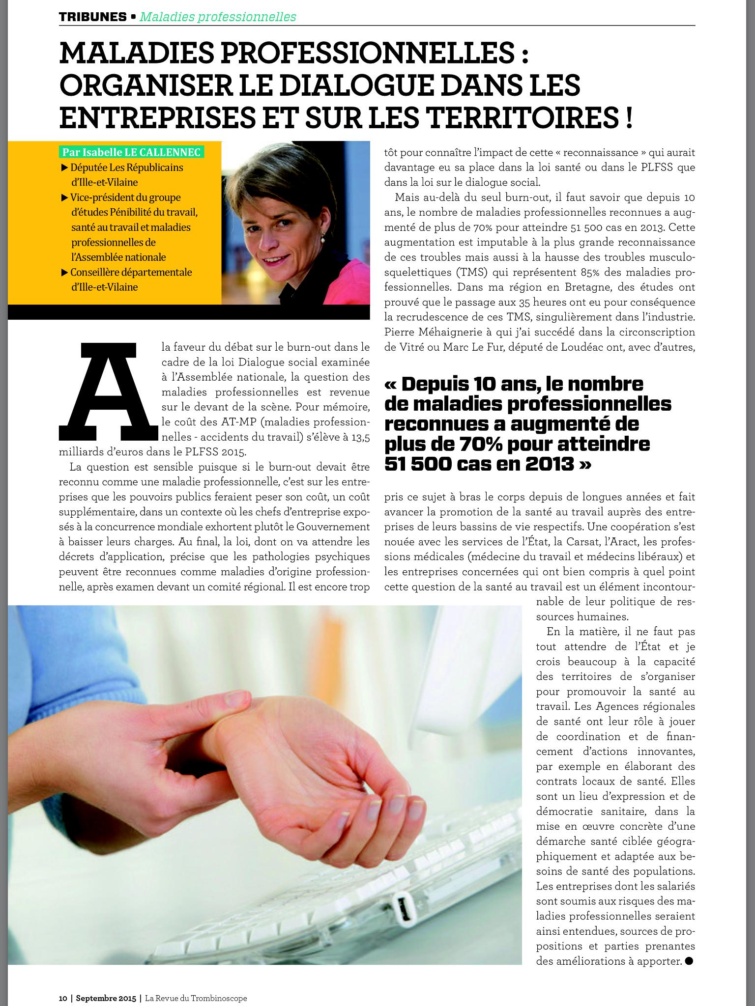 Tribune Maladies Professionnelles - Trombinoscope Septembre 2015